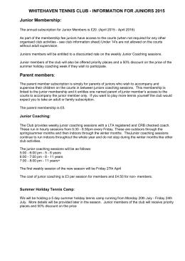 Junior Coaching Assistant Job Description