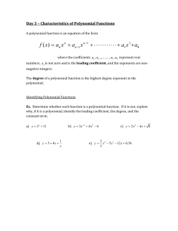 Day 3 Notes – Characteristics of Polynomial Functions