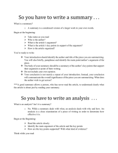 Summary vs. Analysis Tip Sheet
