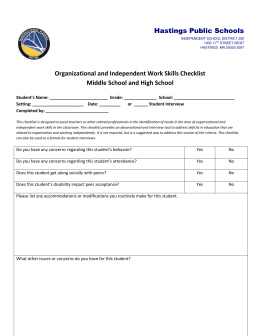 Organizational and Independent Work Skills Checklist Secondary