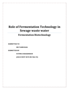 Role of Fermentation Technology in Sewage waste water