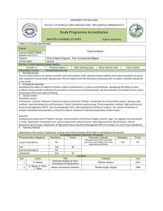 Course: Food analysis Course id:ЗМОП1ИБ08 Number of ECTS: 6