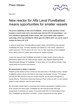 New reactors for Alfa Laval PureBallast mean opportunities for