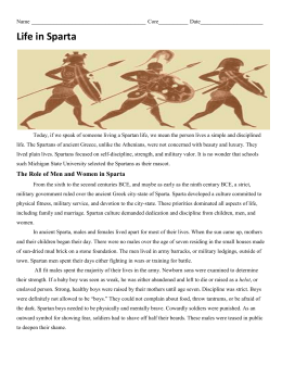 The Role of Men and Women in Sparta