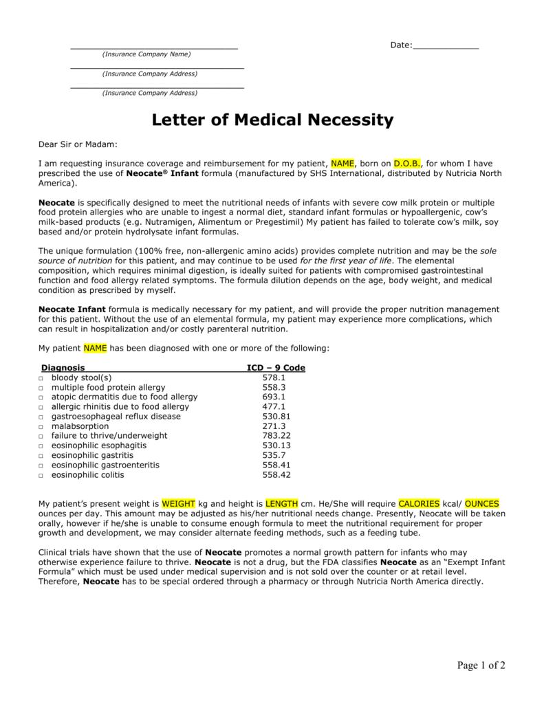 Letter of Medical Necessity