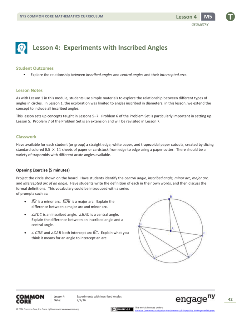 Geometry Module 5 Topic A Lesson 4 Teacher Version
