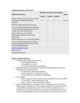 Admission rubric and rubric quality indicators