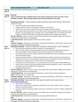Name: Third Grade Science Plans Date: May 12, 2014 Monday May