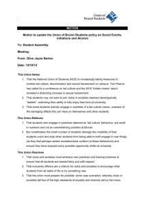 MOTION Motion to update the Union of Brunel Students policy on