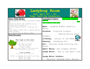 Ladybug Room Date: April 22 nd – 26 th Theme: Earth Day