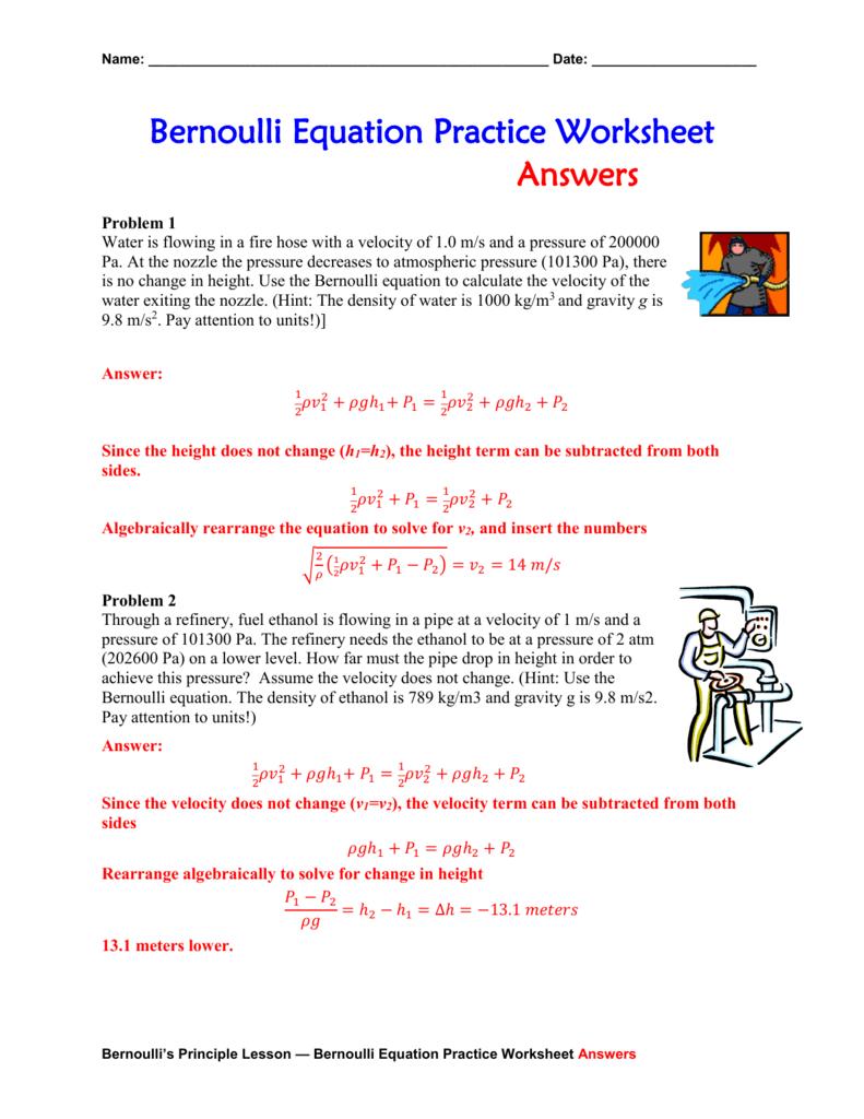 Bernoulli Equation Practice Worksheet Answers Doc