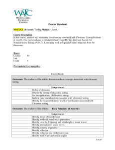 NDT112 - Ultrasonic Testing Method Level I