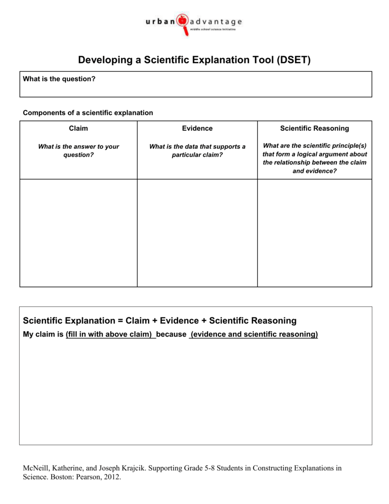 worksheet Claim Evidence Reasoning Worksheets developing a scientific explanation tool dset