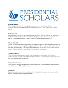 Presidential Scholarship Word Template - Honors College