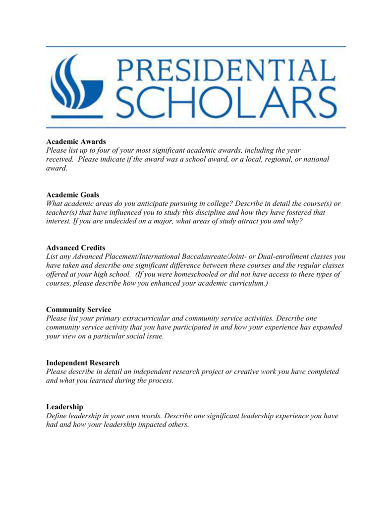 presidential scholarship word template honors college