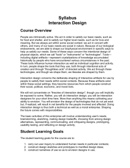 Syllabus for Human Computer Interaction