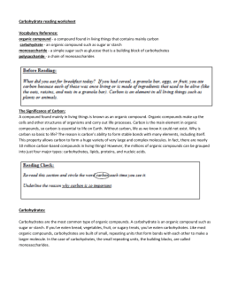 Carbohydrate reading worksheet Vocabulary Reference: organic
