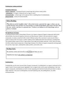 carbohydrates worksheet key