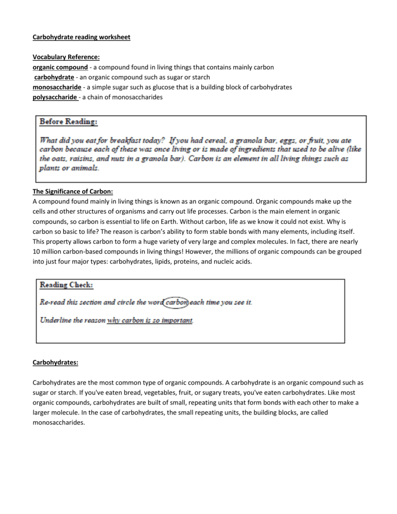 Carbohydrate reading worksheet Vocabulary Reference organic – Carbon Compounds Worksheet