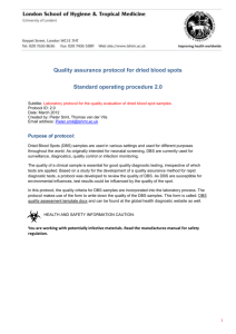 Quality assurance protocol for dried blood spots