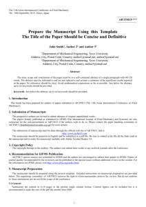 Prepare the Manuscript Using this Template The Title of the Paper