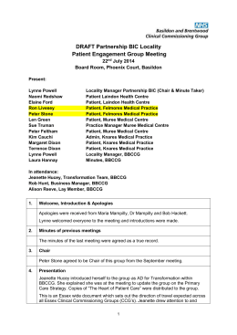 2014-07-22 Partnership BIC PPG Meeting Minutes