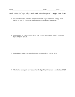 Molar Heat Capacity and Molar Enthalpy Change