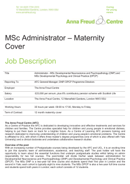 Page of 2 MSc Administrator – Maternity Cover Job Description Title