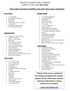 2015-2016 Supply List