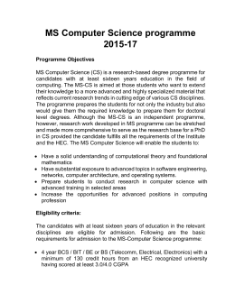 MS Computer Science programme 2015-17