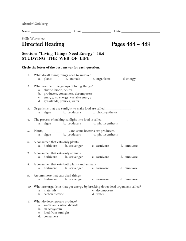 Worksheet Producers Consumers And Decomposers Worksheet