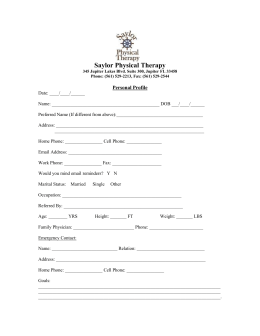 New Patient Forms - Saylor Physical Therapy