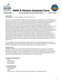 math 6 honors - Prince George`s County Public School System