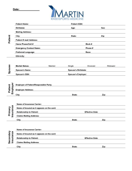 Patient Registration - Martin Knee & Sports Medicine Doctor