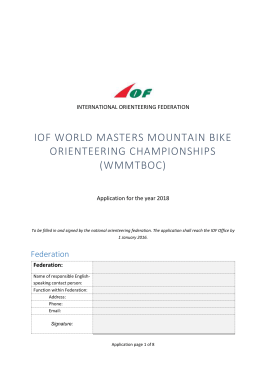 WMMTBOC 2018 – Application form - International Orienteering