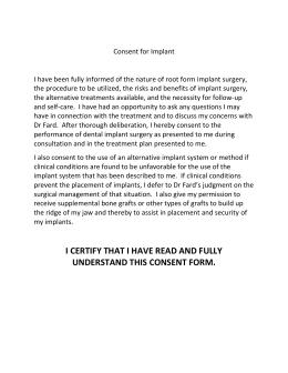 Implant Consent form - Chris Lewns Implant & Dental Centre