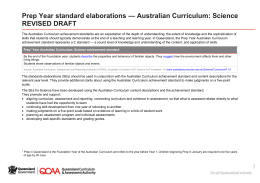 Prep Year standard elaborations Australian Curriculum: Science