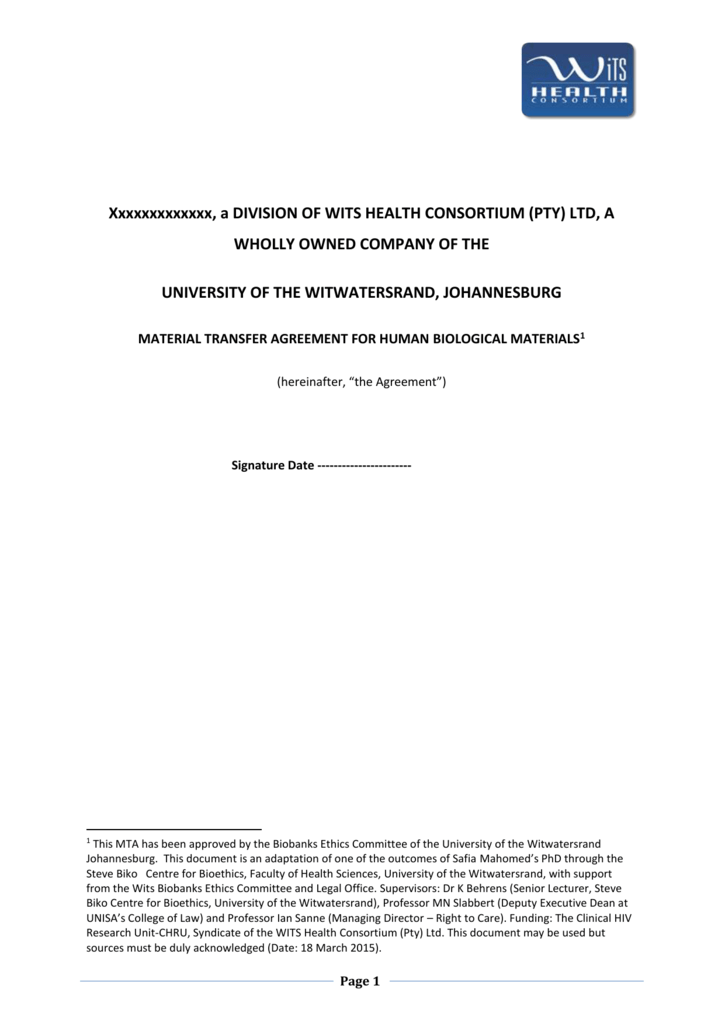 Whc Material Transfer Agreement