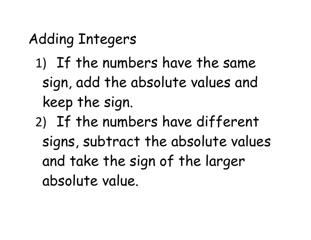 - Adding And Subtracting Integer Notes