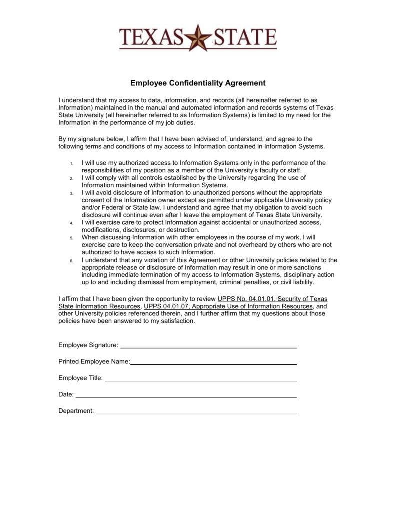Sample Employee NonDisclosure Agreement – Employment Confidentiality Agreement