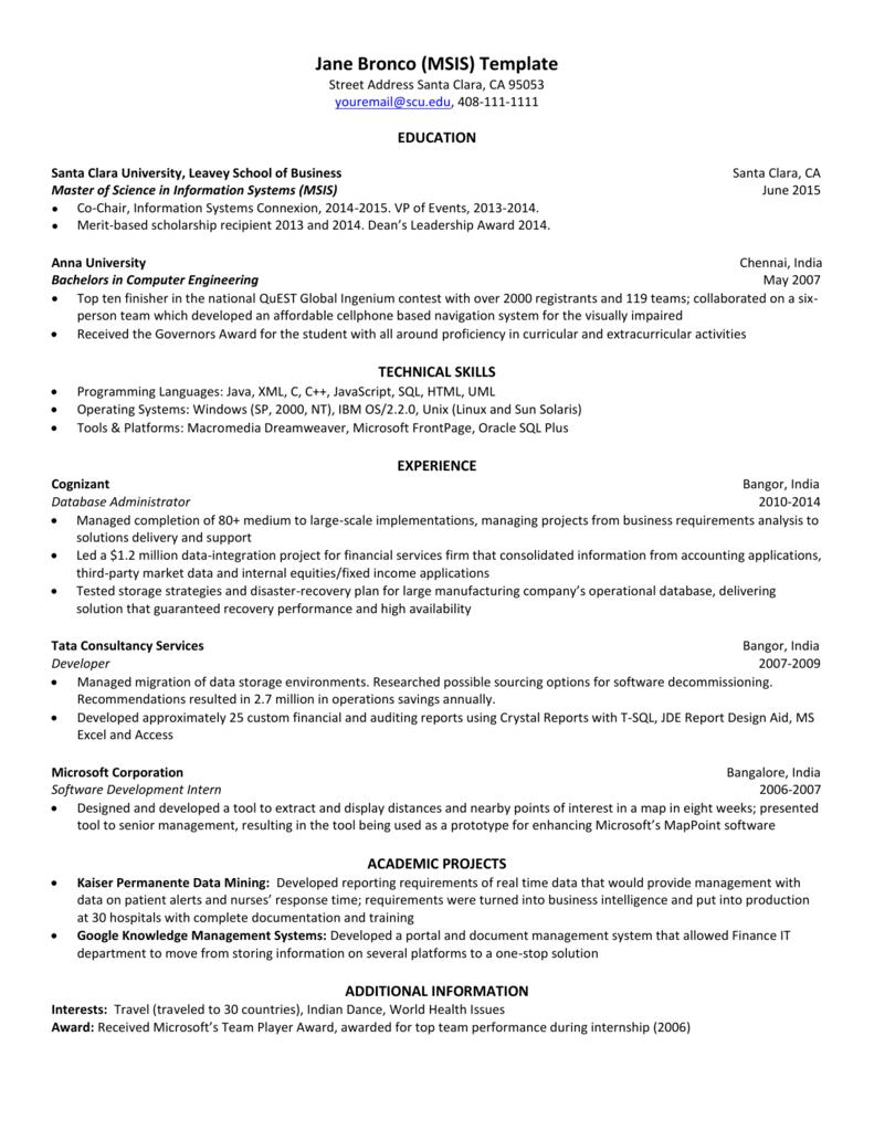 MSIS resume template - Santa Clara University
