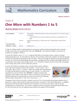 Prekindergarten Mathematics Module 1, Topic G