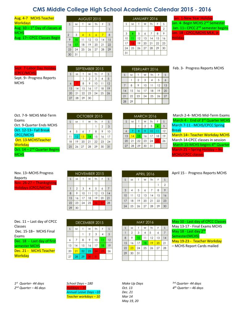 Cpcc Academic Calendar 2021 School Calendar