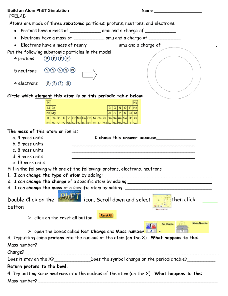 Phet simulation build an atom worksheet answers