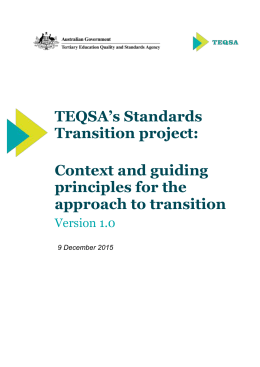 TEQSA Standards Transition Project: Guiding Principles