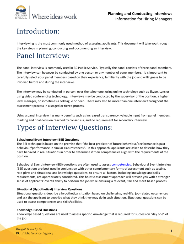 behaviour based interview