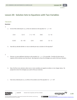 Algebra I Module 1, Topic C, Lesson 20: Student Version