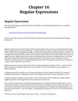 Representing Regular Expressions in Java