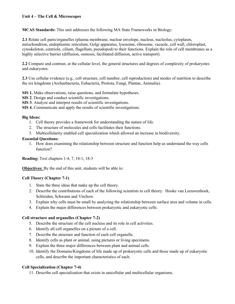 worksheet Section 7 2 Eukaryotic Cell Structure Worksheet Answers unit 4 cells and microscopes
