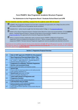 Form PDARF3: New Programme Academic Structure Proposal